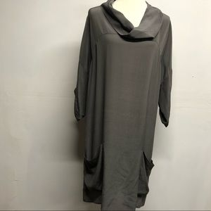 Anthropologie fei cowl neck silk oversized dress